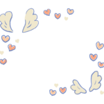 ハートと天使の羽のフレーム・飾り枠のイラスト
