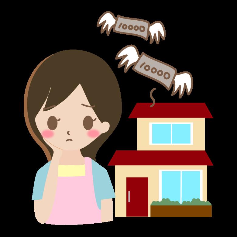 住宅ローンで悩む主婦のイラスト