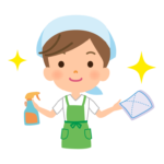 掃除をする家事代行サービス・主婦のイラスト