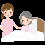 ベッドのおばあさんを介護するイラスト