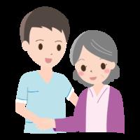 介護士とおばあさんのイラスト