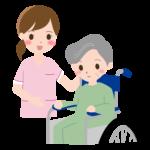 車椅子のおばあさんと介護士さんのイラスト