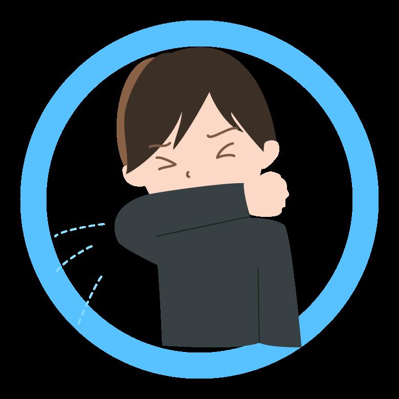 咳やくしゃみの際は腕で抑えましょう
