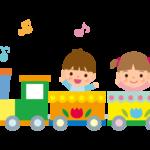 遊園地の汽車とこどものイラスト