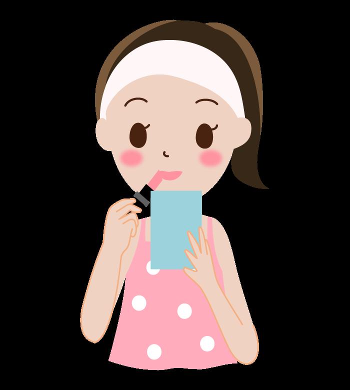 リップを塗ってお化粧をする女性のイラスト