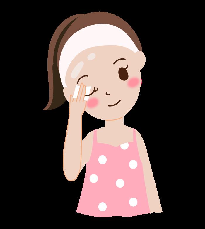 お化粧を落としている女性のイラスト