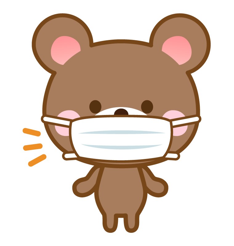 マスクをしたクマさんのイラスト