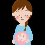 お腹の中の赤ちゃんと妊婦さんのイラスト