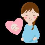 赤ちゃんを思い浮かべる妊婦さんのイラスト