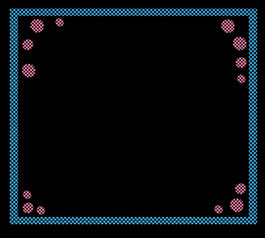 水玉模様の四角いフレーム・飾り枠のイラスト