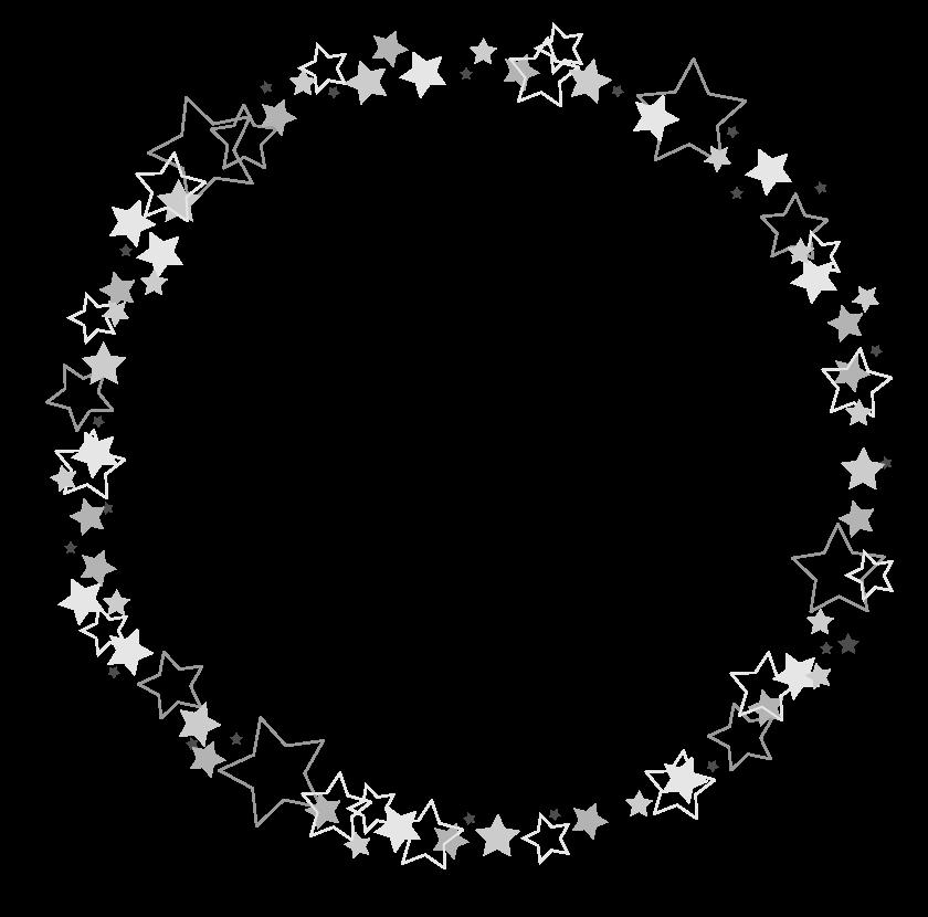 白黒の星のサークル状のフレーム・飾り枠のイラスト
