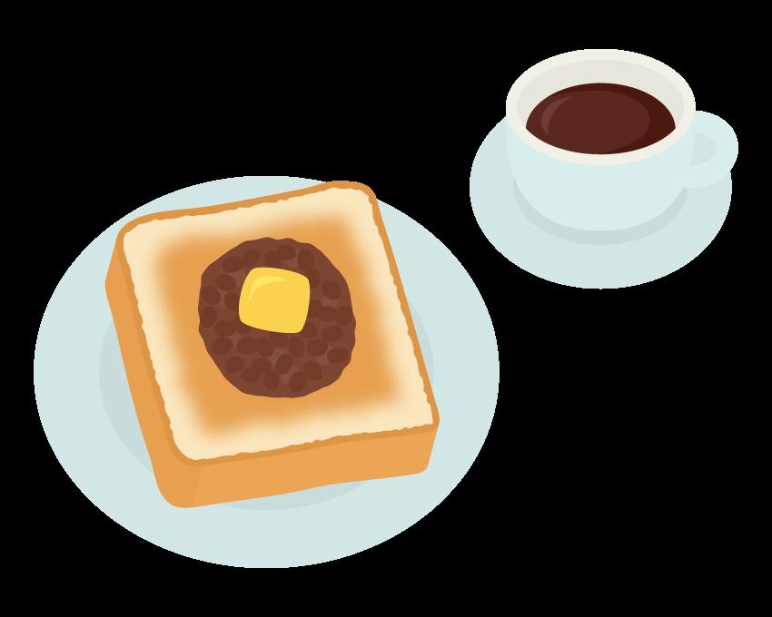小倉バタートーストとコーヒーのイラスト