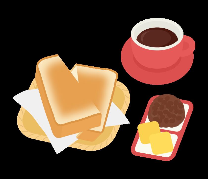モーニング・小倉トーストのイラスト