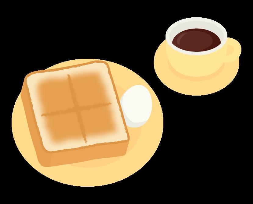 トーストとゆで卵のイラスト