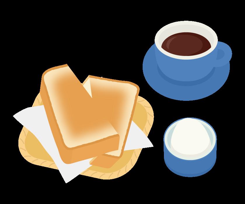 トーストとゆで卵のモーニングセットのイラスト