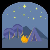 夜のキャンプと焚火のイラスト