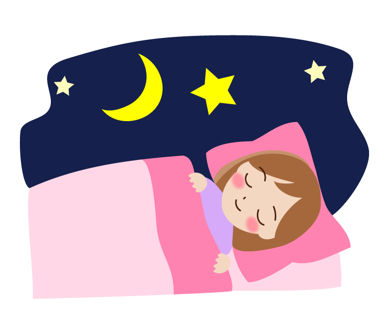 布団で寝ているイラスト