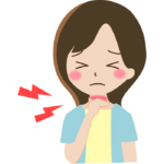 喉の痛みの女性のイラスト