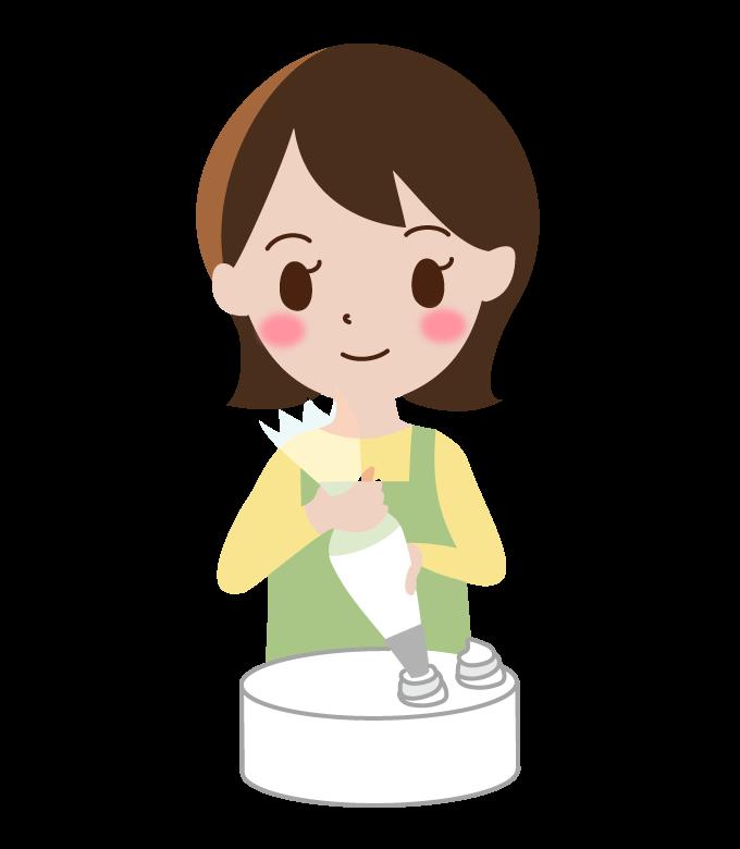 お菓子作りをしている主婦のイラスト