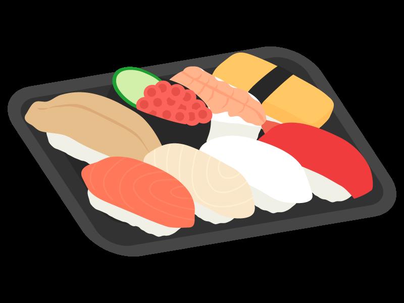 パックの生寿司のイラスト