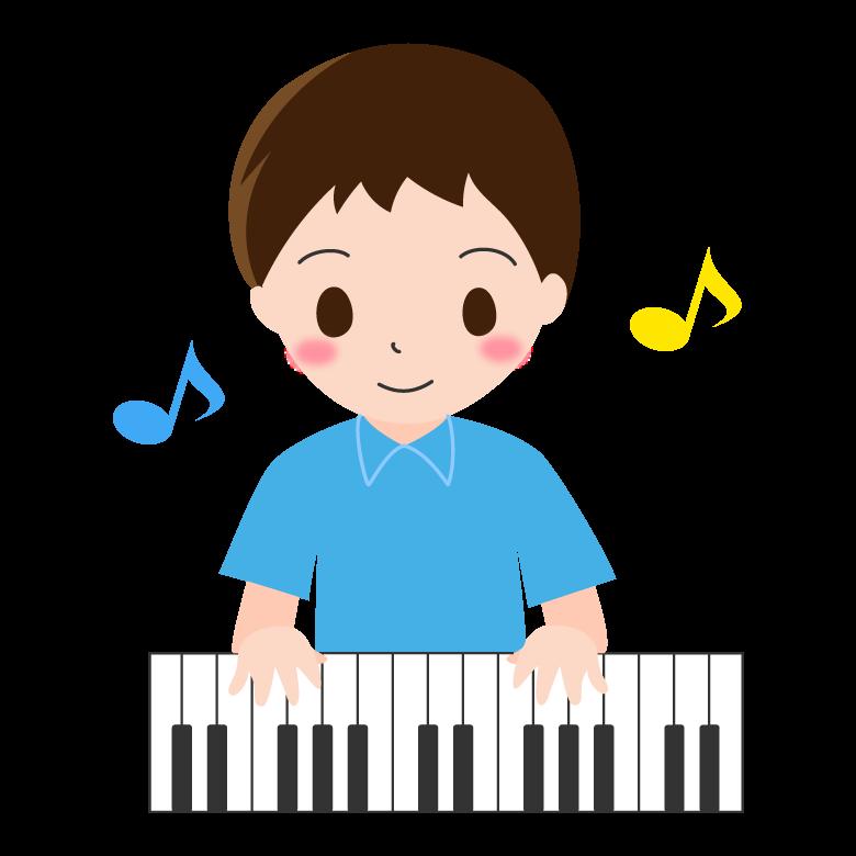 ピアノを弾く男の子のイラスト