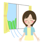 窓を開けて換気しているイラスト