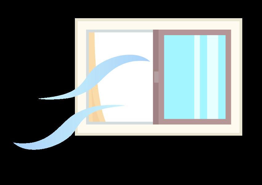 部屋の換気・空気の入れ替えのイラスト