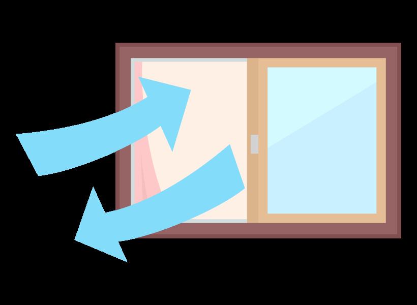 窓を開けて部屋の換気のイラスト