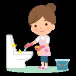 トイレの掃除をする主婦のイラスト