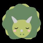 寝ているかわいいトリケラトプスのイラスト