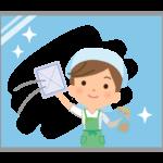 窓ふき掃除をする家事代行サービス・主婦のイラスト