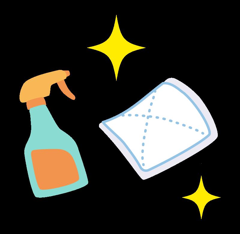 掃除スプレーと雑巾のイラスト