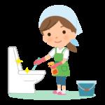 トイレの掃除をする家事代行サービス・主婦のイラスト