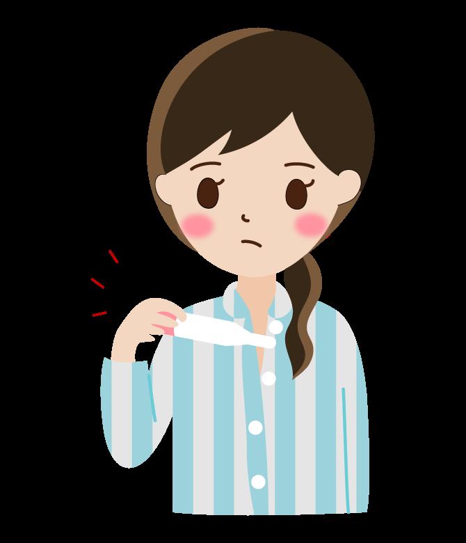 体温を測る女性のイラスト