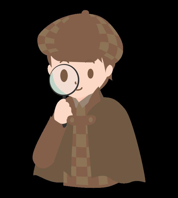 虫眼鏡と探偵のイラスト