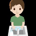石鹸で手洗いをする男性のイラスト