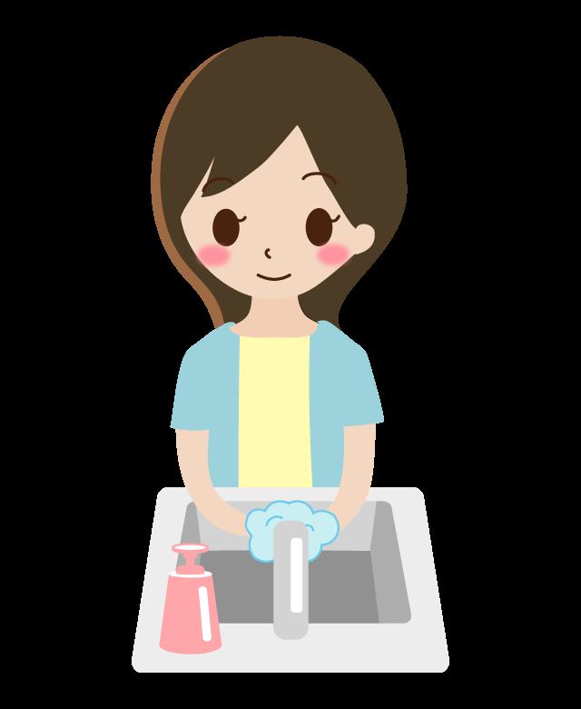 石鹸で手洗いをする女性のイラスト