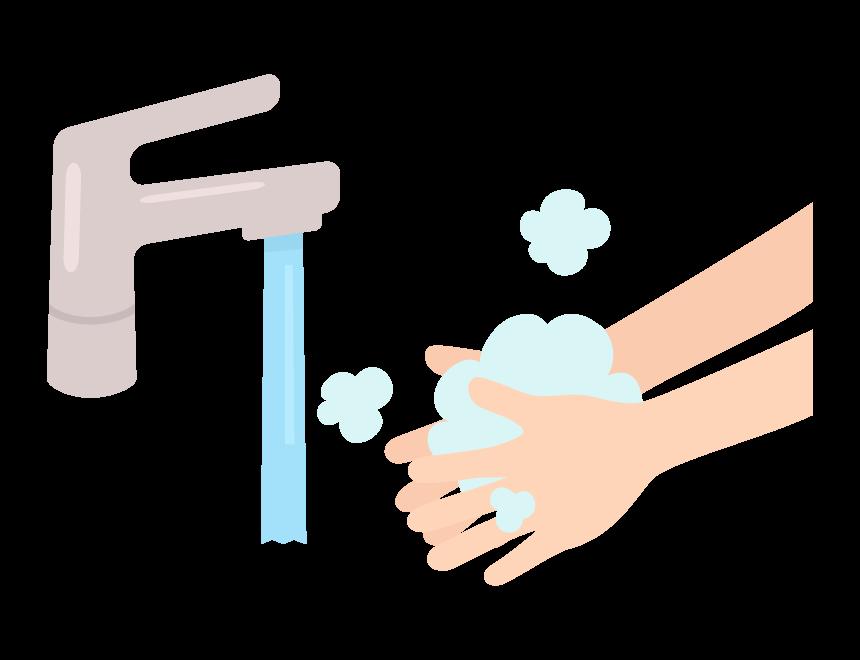 石鹸で手を洗っているイラスト