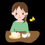 カフェを楽しむ女性のイラスト