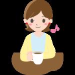 ティータイムを楽しむ女性のイラスト