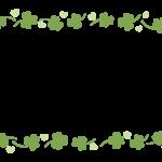 手書き風のクローバーの上下フレーム・飾り枠のイラスト