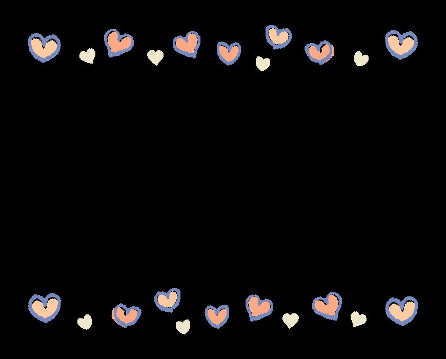 手書き風のハートの上下フレーム・飾り枠のイラスト