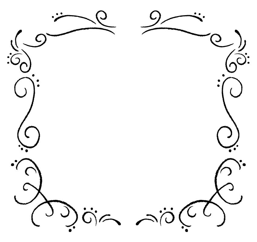 白黒の手書き風の線フレーム・飾り枠のイラスト