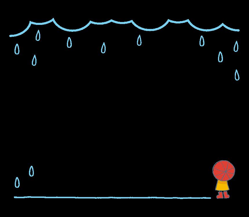 手書き風の雨の日のフレーム・飾り枠のイラスト