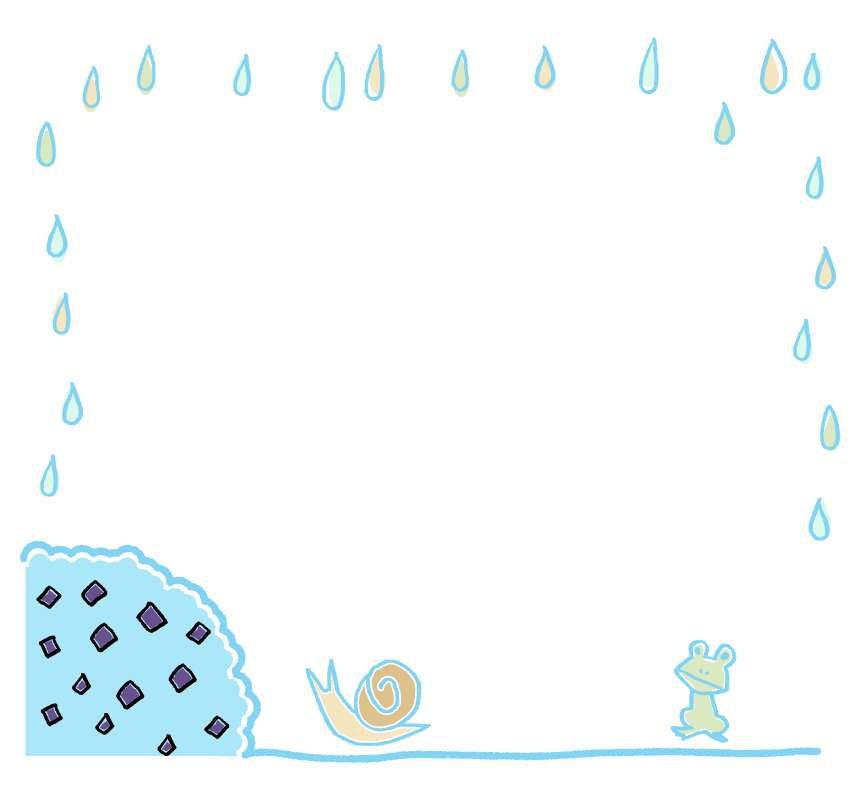 手書き風の梅雨のフレーム・飾り枠のイラスト