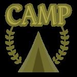 「CAMP」の文字とテントのイラスト