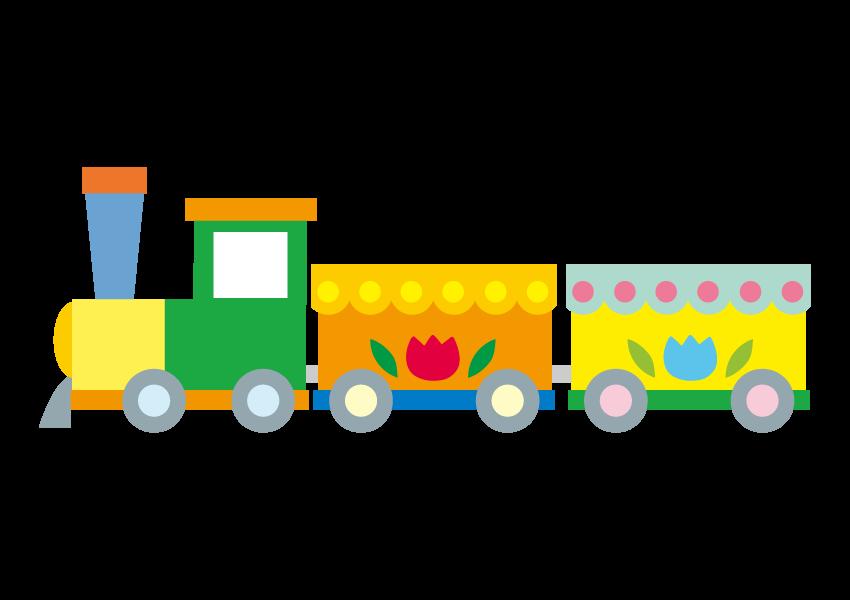 遊園地にある汽車の乗り物のイラスト