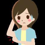 腕のぜい肉を気にする女性のイラスト