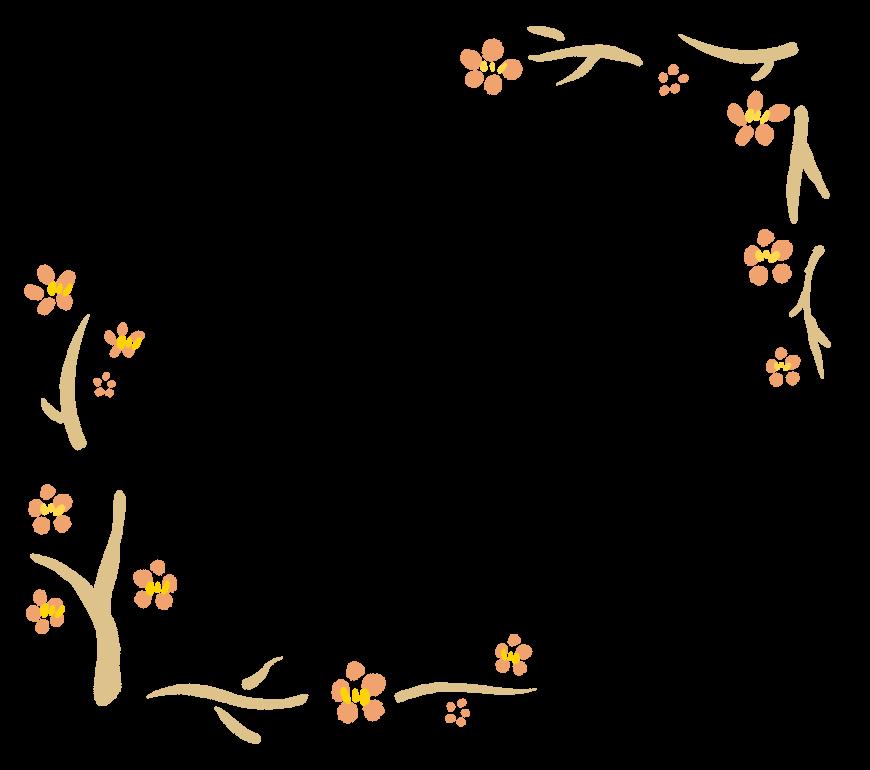 手書き風の梅の木のフレーム・飾り枠のイラスト