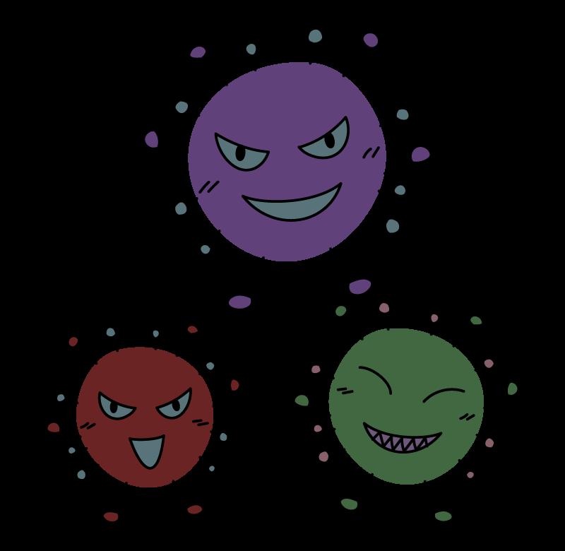 ウイルス菌・ばい菌のキャラクターのイラスト